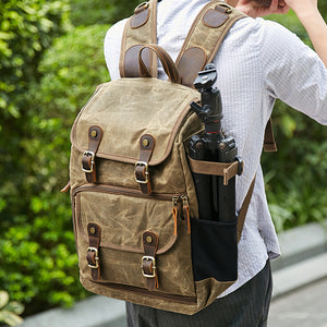 Waxed Canvas DSLR Camera Backpack Waterproof Canvas Laptop Backpack Travel Backpack - echopurse