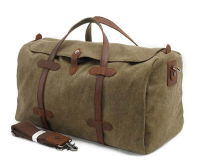 dba35986d Waxed Canvas Duffle Bag, Travel Bag, Holdall with Leather Trim AF12 ...