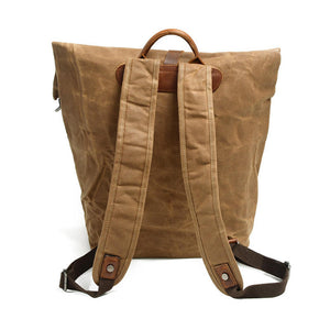 Waxed Canvas Leather Backpack, School Rucksack, Packsack CF12 - echopurse