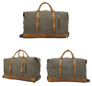 Waxed Canvas Leather Trolley Bag, Duffel Bag, Holdall Luggage Bag with Wheels 12031T - echopurse