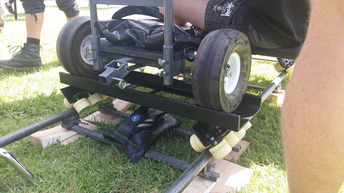 Prima Doorway Dolly on custom wheel carriage sleds