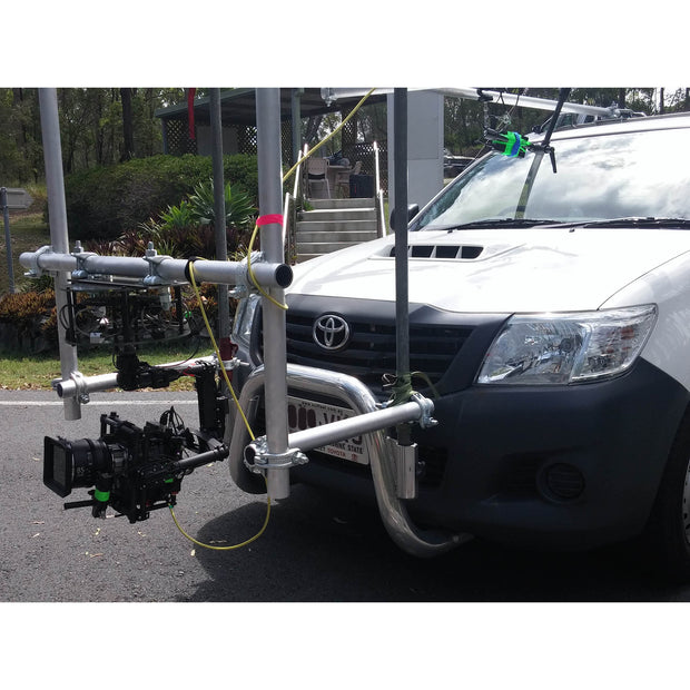 Car mount rig on scaff pipe with Movi M15 and CVI-Underslung stabilizer holding RED Epic