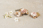Antique rose ruffle slides