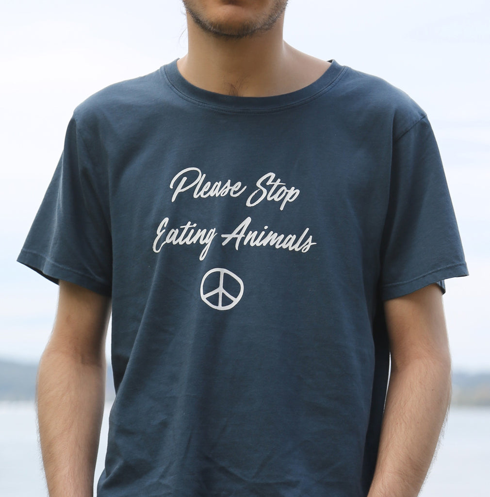 Please Stop Eating Animals. Earth Forever Vegan Clothing Brand