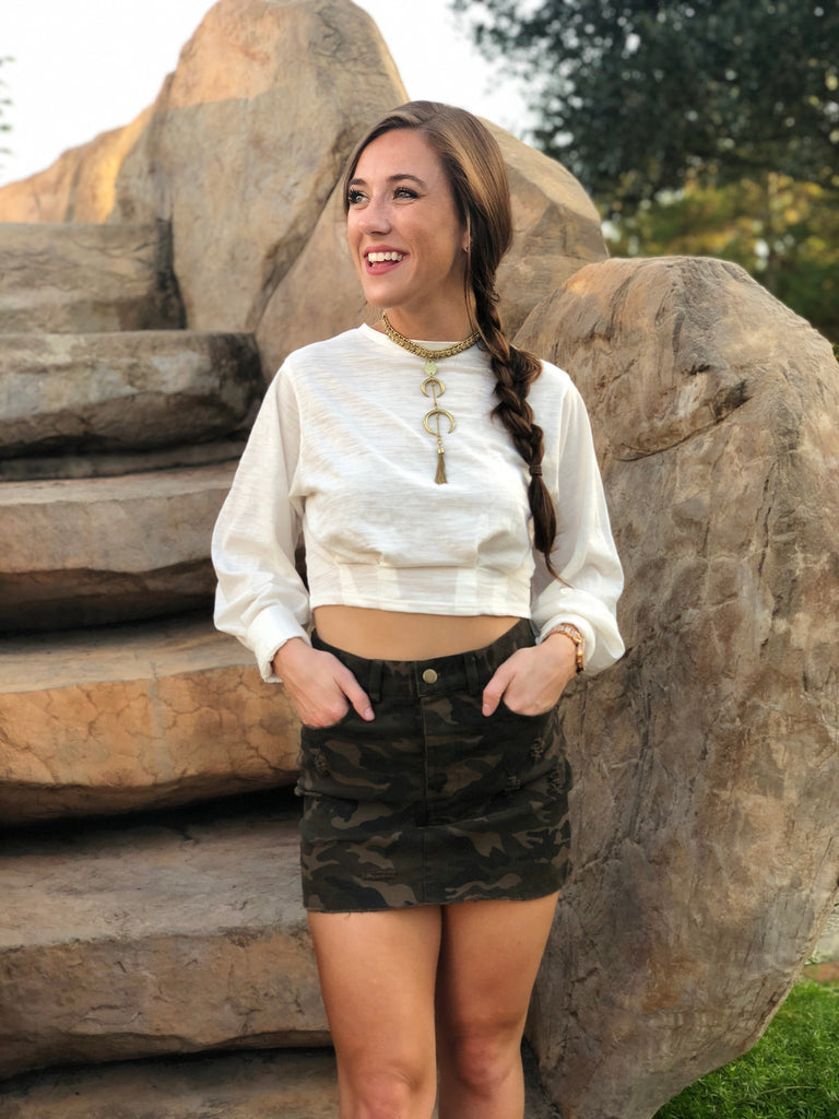 Camo Crushin' Mini Skirt