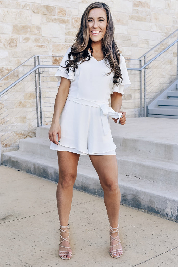 Look My Way Romper in White