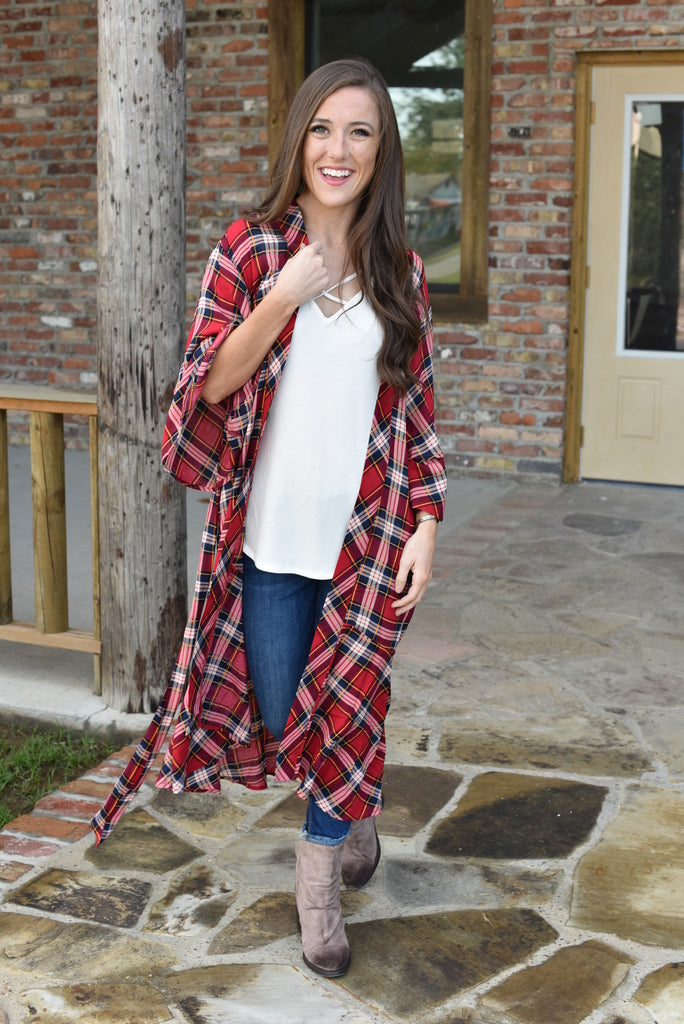 A Night by the Fire Plaid Kimono