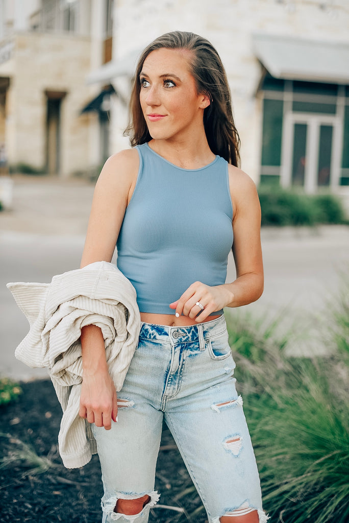 Alexa Ribbed Knit Crop Top in Bluestone