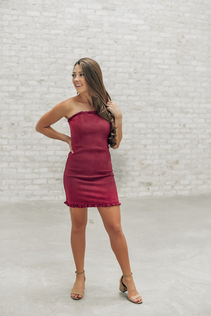 All the Love Burgundy Strapless Dress