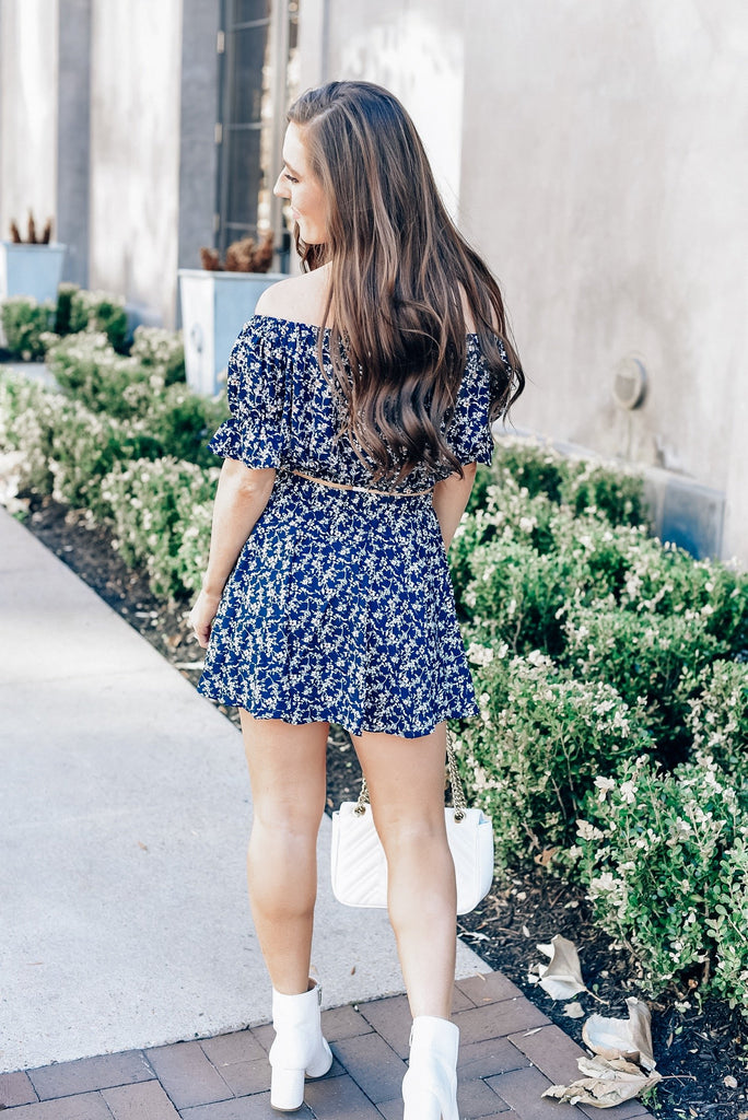 Always With Me Floral Skirt in Navy