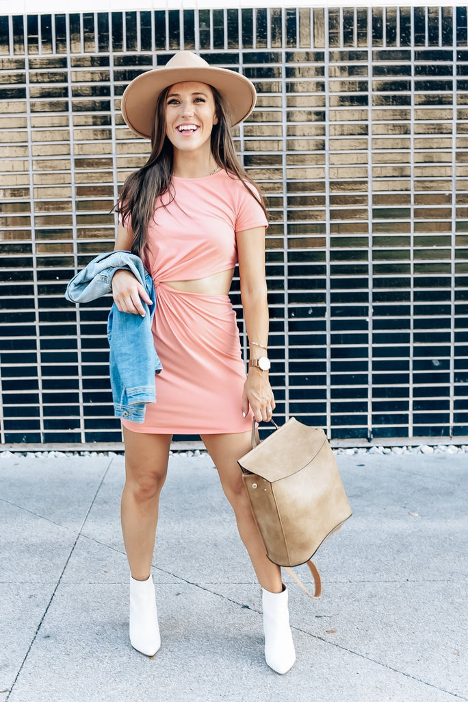 Autumn Breeze T-Shirt Dress in Peach