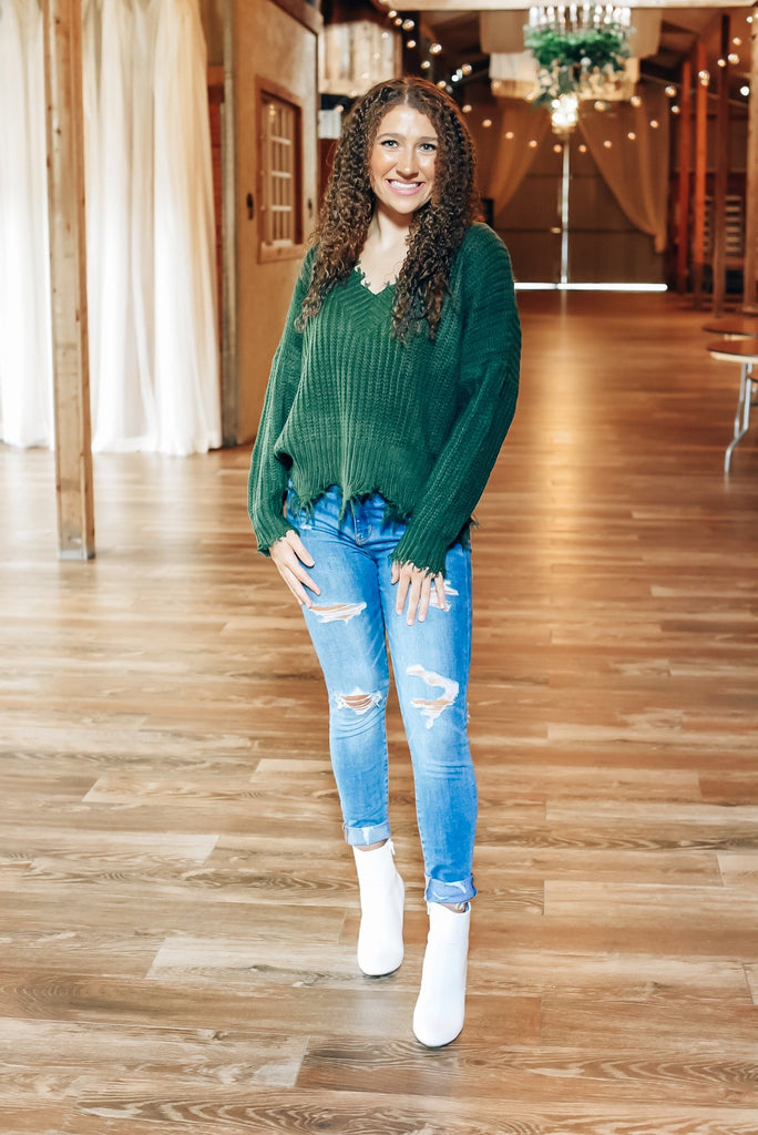 Autumn Feels Distressed Sweater in Hunter Green