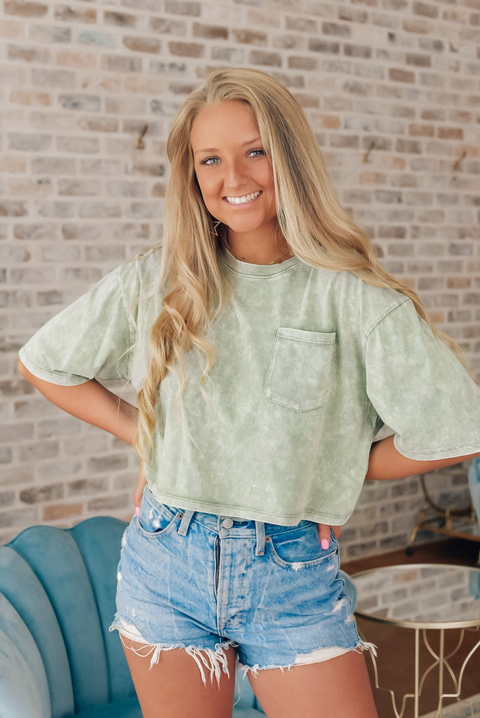 Avery Crop Top in Green