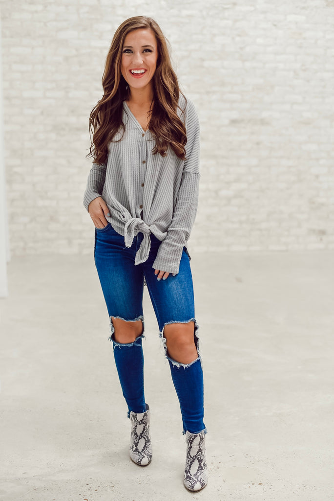 Bethany Tie Waffle Knit Top in Gray