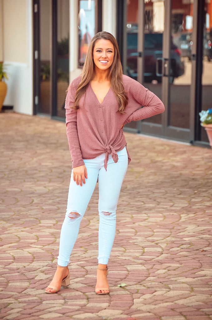 Bethany Tie Waffle Knit Top in Mauve