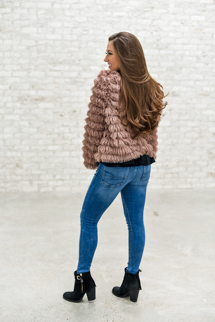 Brighton Shaggy Jacket in Mocha