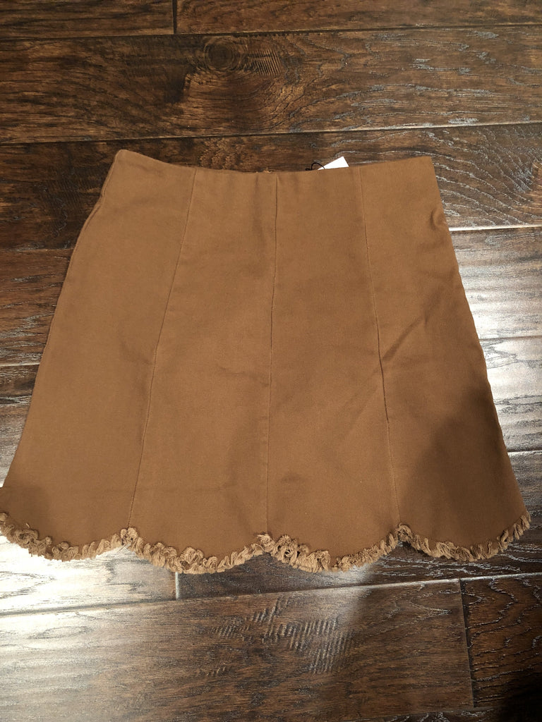 Camel Scalloped Skirt
