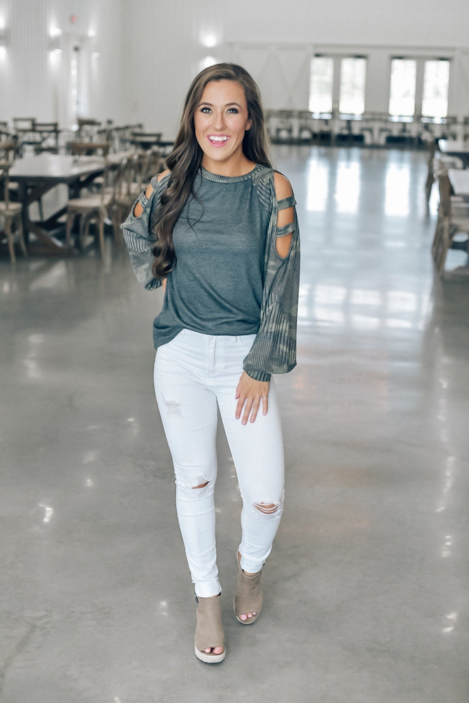 Camo Long Sleeve Cutout Top