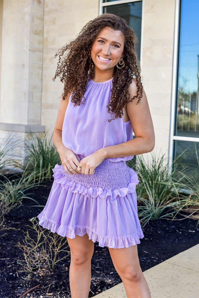Can't Get Enough Smocked Dress in Lavender