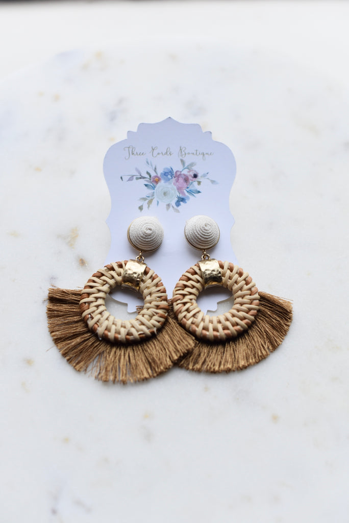 Caribbean Vacation Woven Fringe Earrings