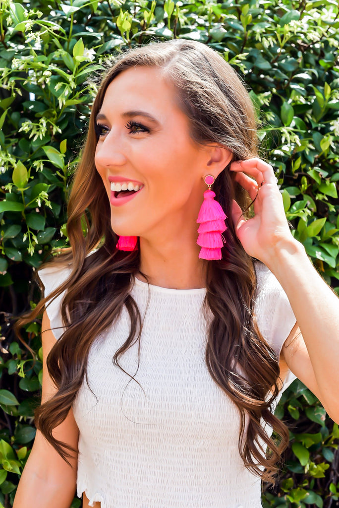 Caught My Eye Tassel Earrings in Hot Pink