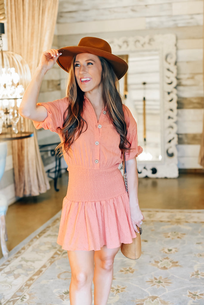 Chasing Sunsets Flower Eyelet Smocked Dress
