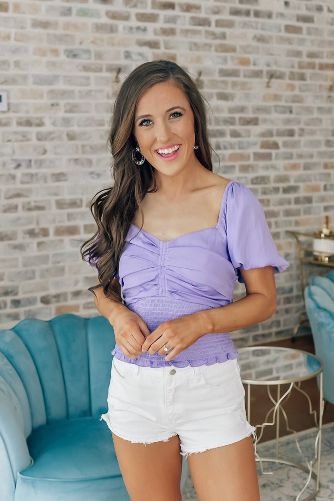 Choose Joy Smocked Top in Lavender