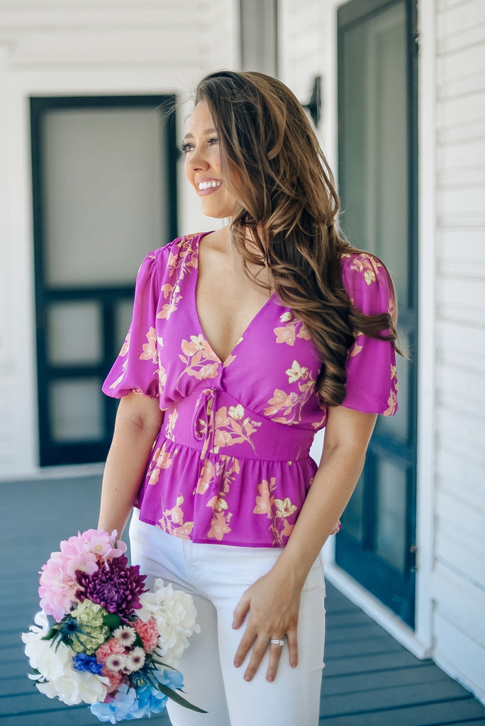 Chrishell Floral Top in Magenta