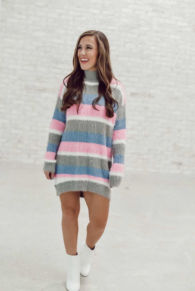 City Girl Striped Sweater Dress