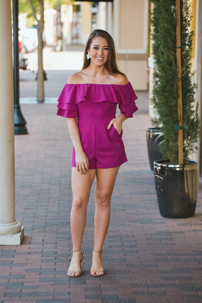 City Lights Romper in Magenta