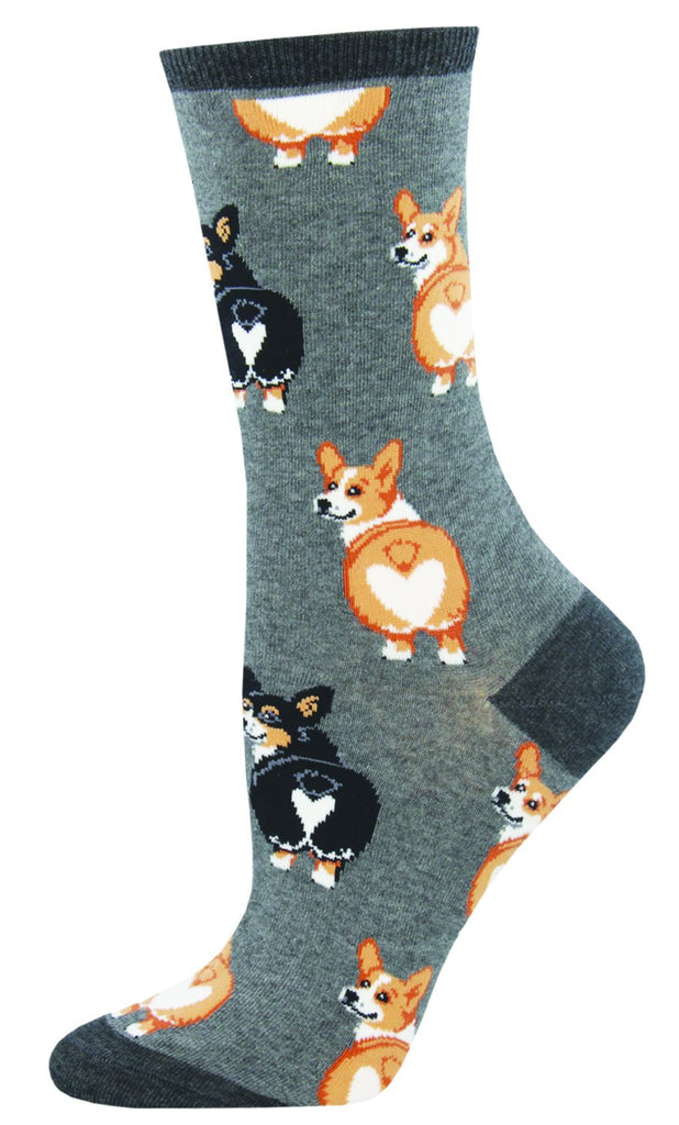 Corgi Dog Socks - Gray