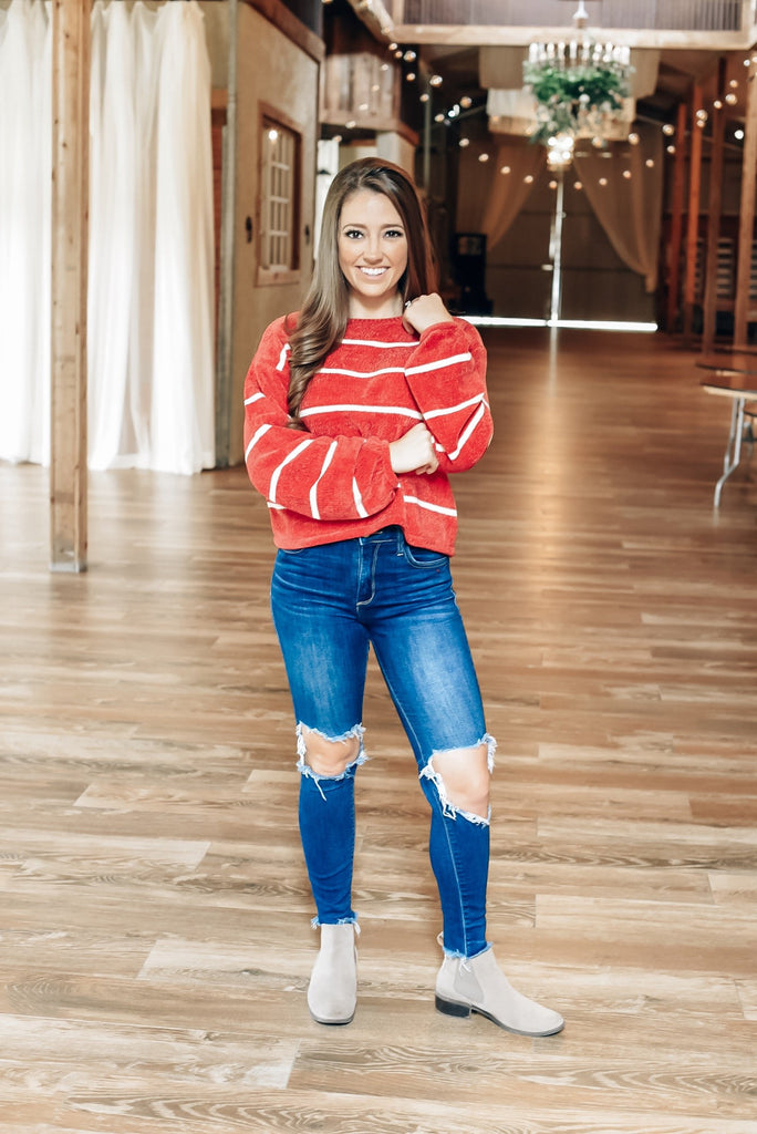 Cozy Breeze Striped Sweater in Red