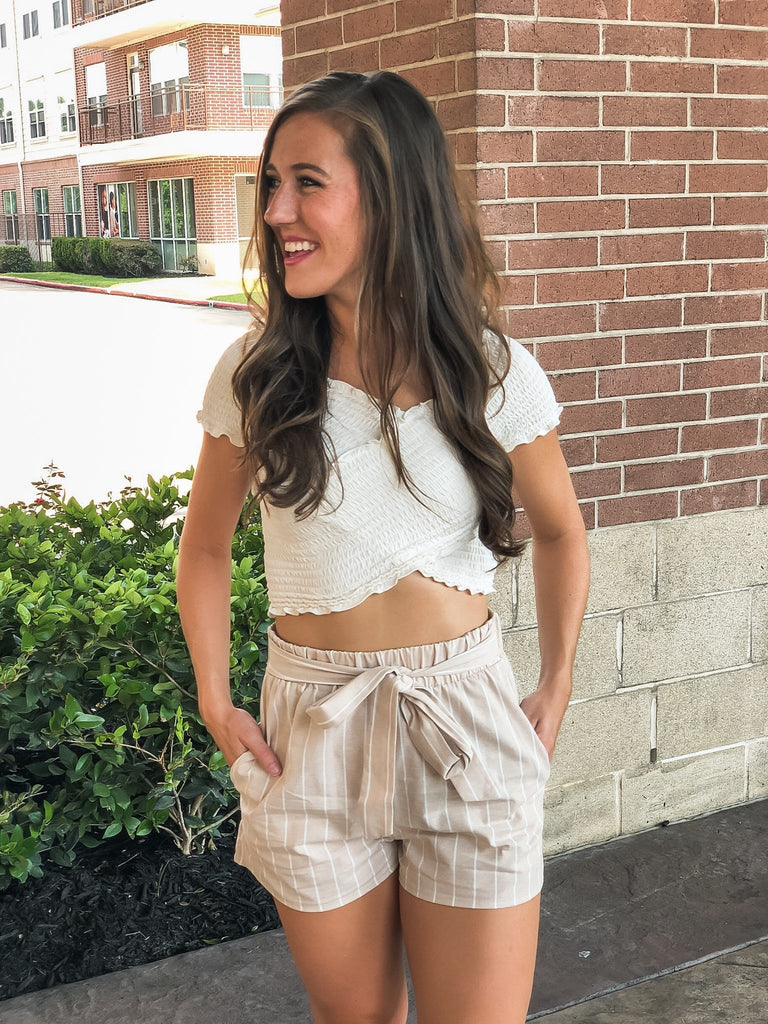 Down in Miami Striped Shorts - Taupe
