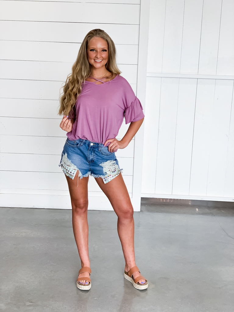 Dusk To Dawn Ruffle Top in Mauve