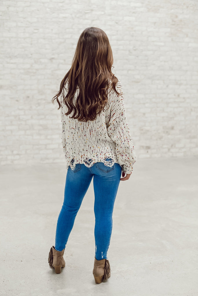 Express Yourself Confetti Distressed Sweater