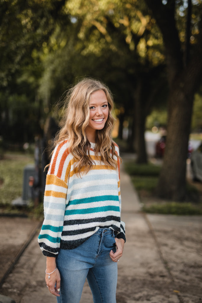 Fayetteville Feels Multi Colored Striped Sweater