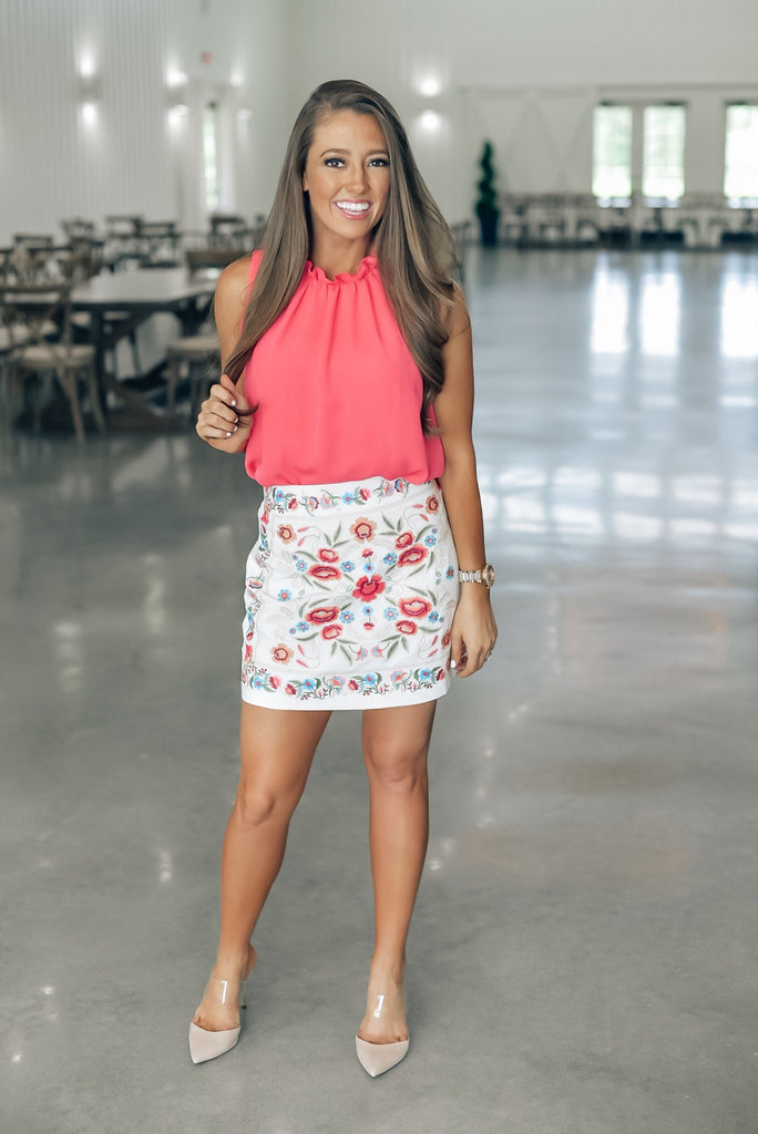 Fearless Floral Skirt in White