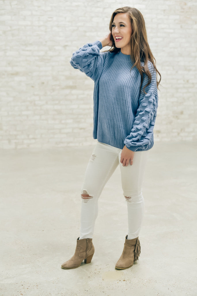 Fireside Memories Sweater in Dusty Blue