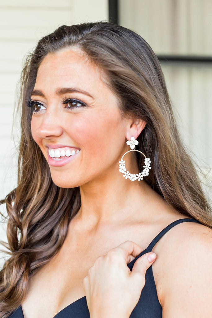Flirty Floral Drop White Earrings