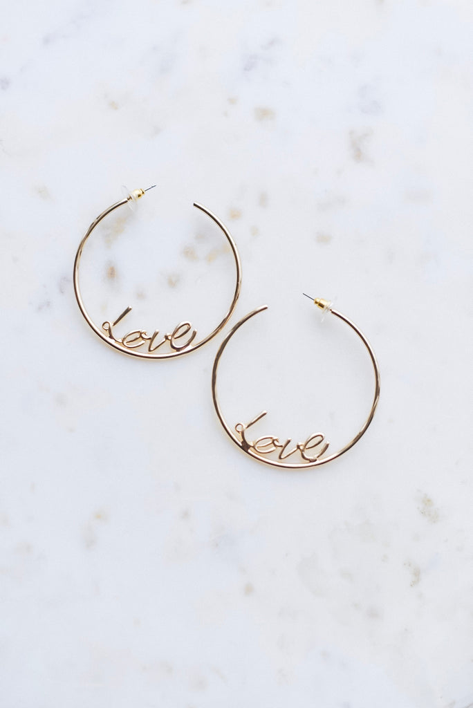 Gold Love Hoop Earrings