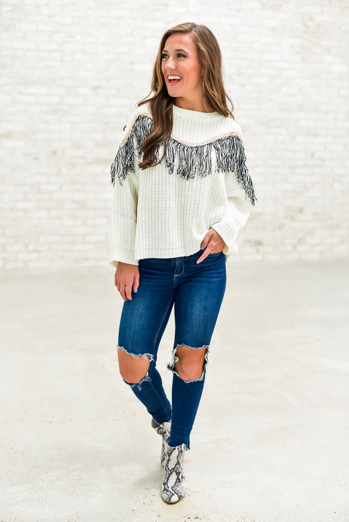 Heading West Fringe Overlay Sweater
