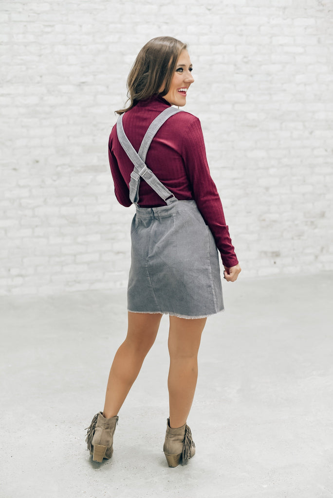 Heart of Dixie Overall Dress in Gray