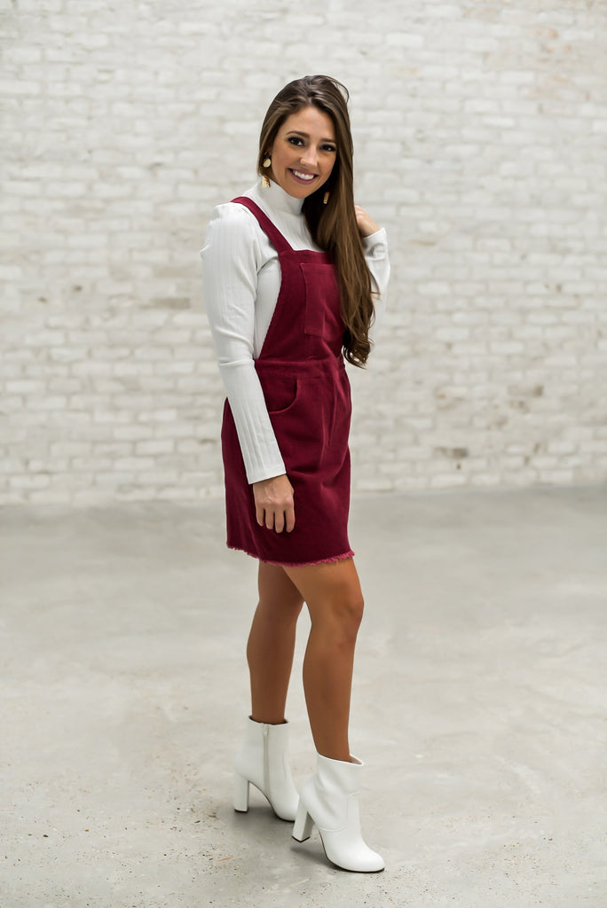 Heart of Dixie Overall Dress in Maroon