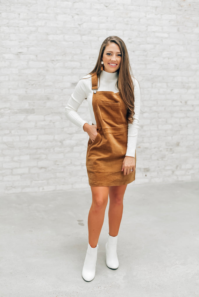 Heart of Dixie Overall Dress in Walnut