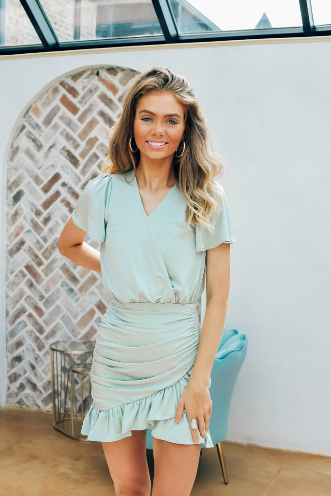 High Standards Mini Dress in Sage