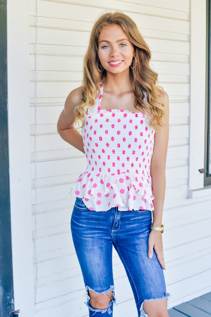 Caroline Hot Pink Polka Dot Top