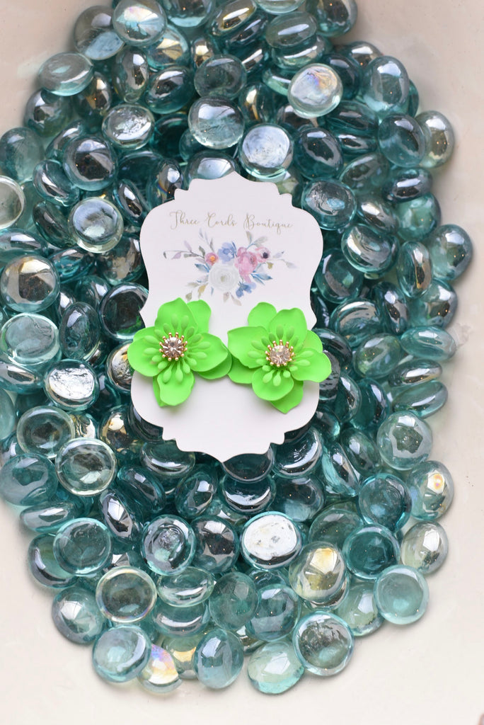 Join the Party Flower Earrings in Neon Green