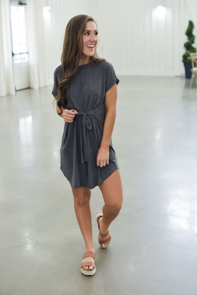 Just My Type T-Shirt Dress in Gray