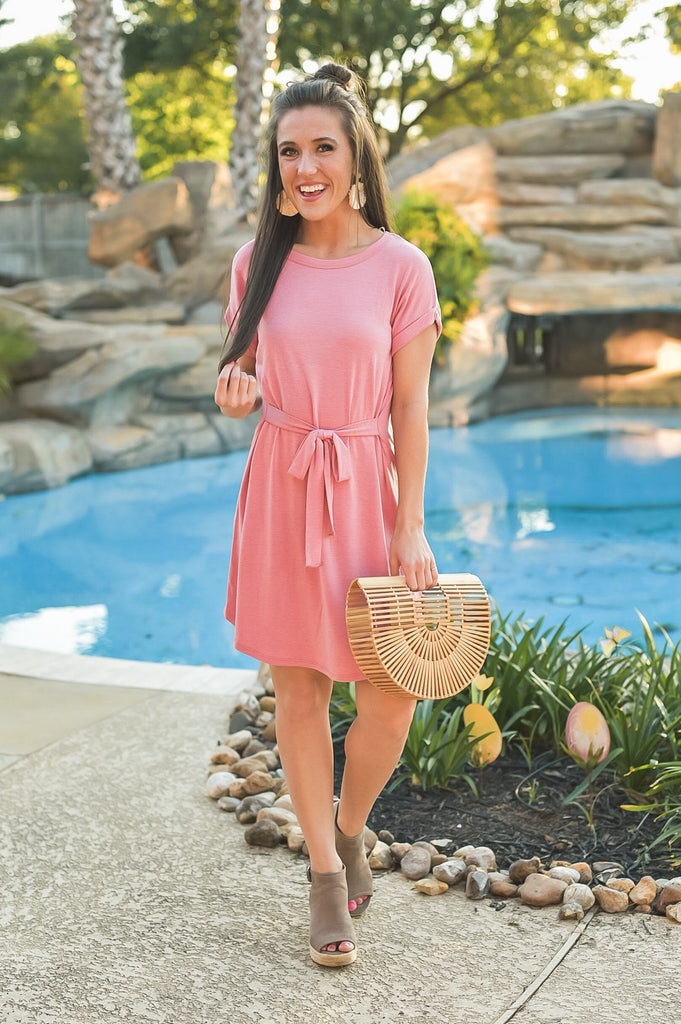 Just My Type T-Shirt Dress in Passion Pink