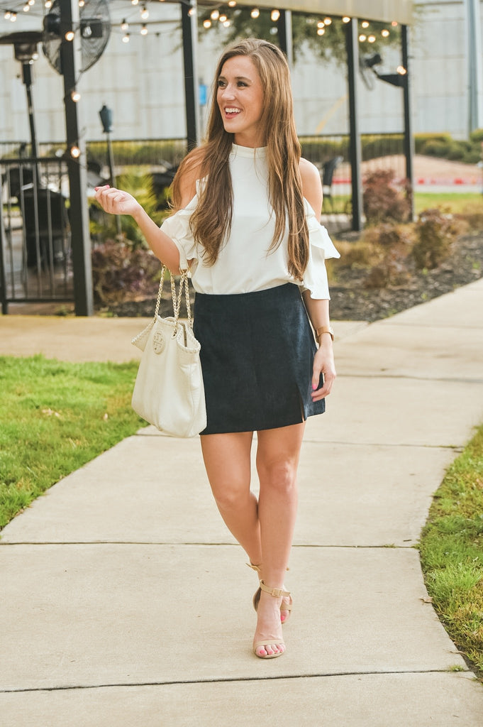 Katie Corduroy Skirt in Navy